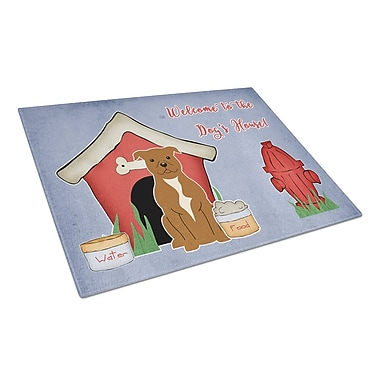 Caroline's Treasures Dog House Glass Staffordshire Bull Terrier Cutting Board; Brown