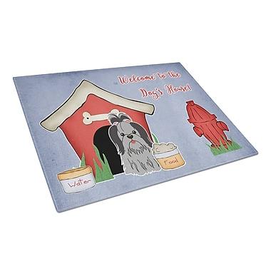 Caroline's Treasures Dog House Glass Shih Tzu Cutting Board; Black/Silver