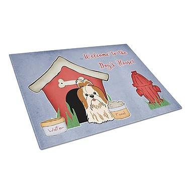 Caroline's Treasures Dog House Glass Shih Tzu Cutting Board; Red/White