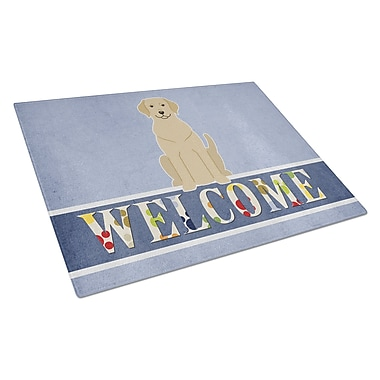 Caroline's Treasures Welcome Dog Glass Yellow Labrador Cutting Board; Yellow