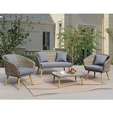 Ophelia & Co. Lilah 4 Piece Gray Deep Seating Group w/ Cushion