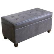 Charlton Home Bourdeau Two Seat Storage Bench; Lush Slate