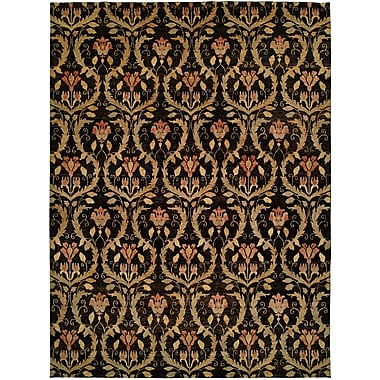 Wildon Home Kaohsiung Hand-Knotted Black/Gold Area Rug; 9' x 12'