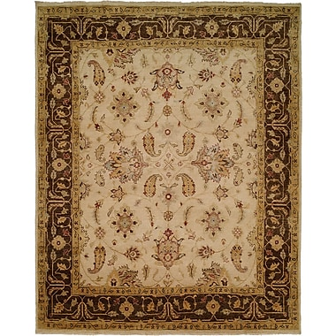 Wildon Home Ensenada Hand-Knotted Ivory/Brown Area Rug; Round 6'