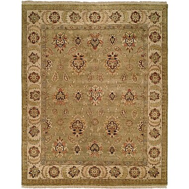 Wildon Home Jubail Hand-Knotted Green/Ivory Area Rug; 6' x 9'