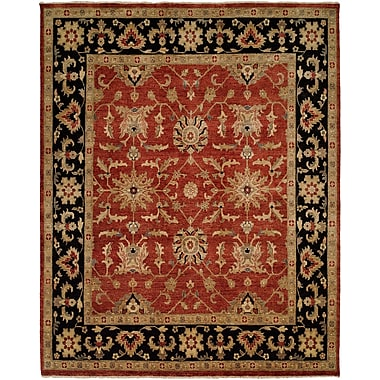 Wildon Home Chile Hand-Knotted Rust/Black Area Rug; 9' x 12'