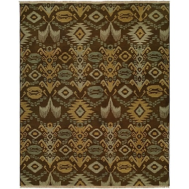Wildon Home Gon Hand-Woven Brown/Green Area Rug; 8' x 10'