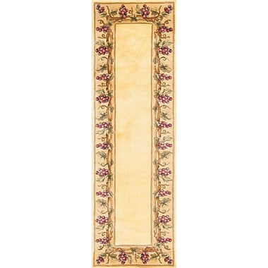 Fleur De Lis Living Aimee Ivory Grapes Border Area Rug; Round 7'6''