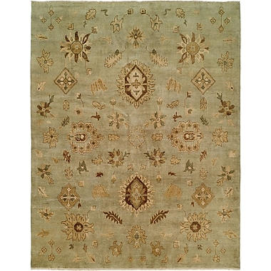 Wildon Home Seattle Hand-Knotted Green Area Rug; 6' x 9'