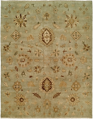 Wildon Home Seattle Hand-Knotted Green Area Rug; 12' x 15'