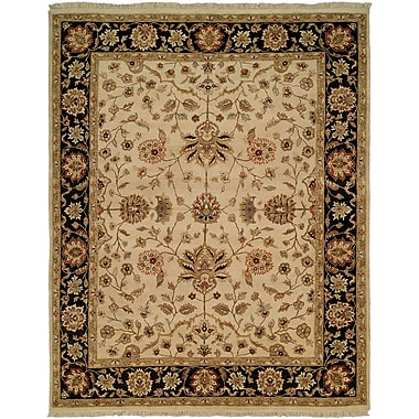 Wildon Home Hand-Knotted Beige/Brown Area Rug; 9' x 12'