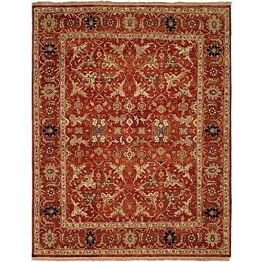 Wildon Home Hand-Knotted Rust Area Rug; 10' x 14'