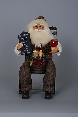 The Holiday Aisle Christmas Santa Tabletop Wine Bottle Holder WYF078280585713