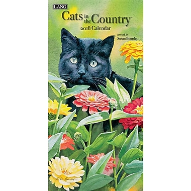 Lang - Calendrier vertical mural Cats In The Country 2018, papier gaufré de luxe à base de lin, 13 3/8 larg. x 24 haut. ouvert