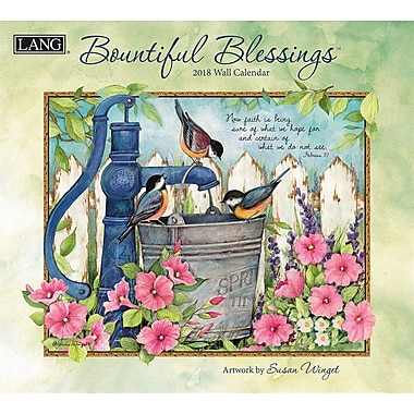 Lang 2018 Wall Calendar Bountiful Blessings Premium Quality Linen Embosed Paper Stock, 13 3/8