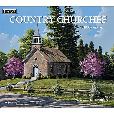 Lang 2018 Wall Calendar Country Churches Premium Quality Linen Embosed Paper Stock, 13 3/8