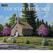 Lang - Calendrier mural Country Churches 2018, papier gaufré de luxe à base de lin, 13 3/8 larg. x 24 haut. ouvert