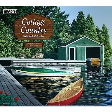 Lang 2018 Wall Calendar Cottage Country Premium Quality Linen Embosed Paper Stock, 13 3/8