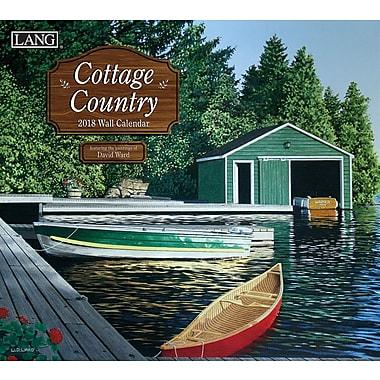 Lang - Calendrier mural Cottage Country 2018, papier gaufré de luxe à base de lin, 13 3/8 larg. x 24 haut. ouvert