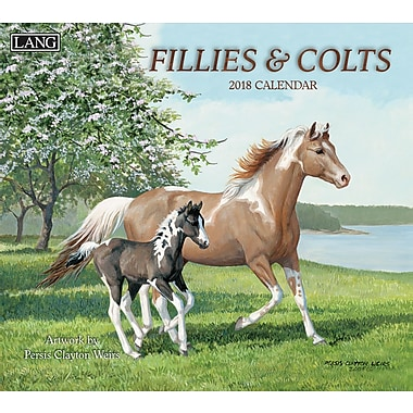 Lang 2018 Wall Calendar Fillies & Colts Premium Quality Linen Embosed Paper Stock, 13 3/8