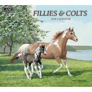 Lang - Calendrier mural Fillies & Colts 2018, papier gaufré de luxe à base de lin, 13 3/8 larg. x 24 haut. ouvert