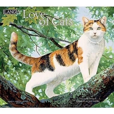 Lang - Calendrier mural Love Of Cats 2018, papier gaufré de luxe à base de lin, 13 3/8 larg. x 24 haut. ouvert
