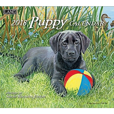 Lang 2018 Wall Calendar Puppy Premium Quality Linen Embosed Paper Stock, 13 3/8