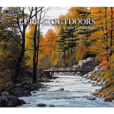 Lang 2018 Wall Calendar Lure Of The Outdoors Premium Quality Linen Embosed Paper Stock, 13 3/8