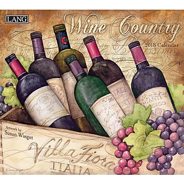 Lang 2018 Wall Calendar Wine Country Premium Quality Linen Embosed Paper Stock, 13 3/8