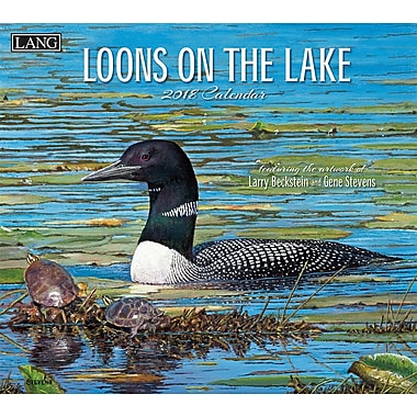 Lang 2018 Wall Calendar Loons On The Lake Premium Quality Linen Embosed Paper Stock, 13 3/8