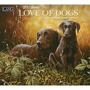 Lang - Calendrier mural Love Of Dogs 2018, papier gaufré de luxe à base de lin, 13 3/8 larg. x 24 haut. ouvert