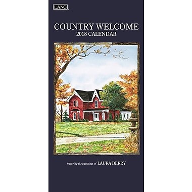Lang 2018 Vertical Wall Calendar Country Welcome Premium Quality Linen Embosed Paper Stock, 13 3/8