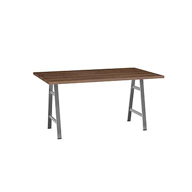 Amisco Bridgeport Table, Grey Metal & Brown Top