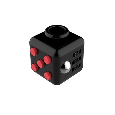 Fidget Cube Anxiety and Stress Reliever Focus Toy, Black/Red