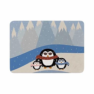 East Urban Home Cristina bianco Design Cute Penguins Illustration Memory Foam Bath Rug