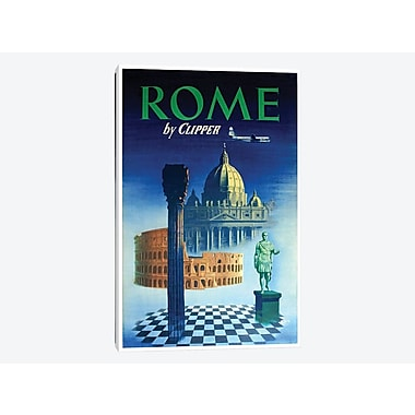 East Urban Home 'Rome - By Clipper' Vintage Advertisement on Canvas; 26'' H x 18'' W x 1.5'' D