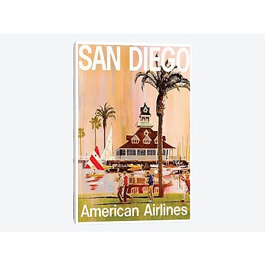 East Urban Home 'San Diego - American Airlines' Vintage Advertisement on Canvas