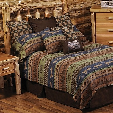 Wooded River Lake Shore Coverlet Set; Super Queen