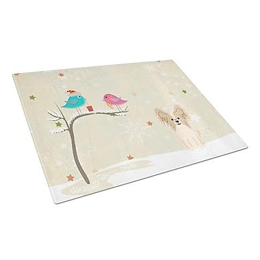 Caroline's Treasures Christmas Presents Glass Papillon Cutting Board; Sable/White