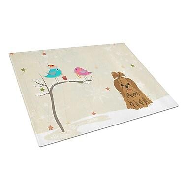 Caroline's Treasures Christmas Presents Glass Shih Tzu Cutting Board; Chocolate