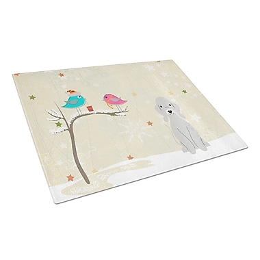 Caroline's Treasures Christmas Presents Glass Bedlington Terrier Cutting Board; Blue
