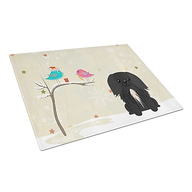 Caroline's Treasures Christmas Presents Glass Pekingnese Cutting Board; Black