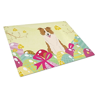 Caroline's Treasures Easter Eggs Glass Border Collie Cutting Board; Red/White