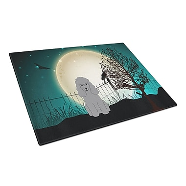 Caroline's Treasures Scary Halloween Glass Poodle Cutting Board; Silver