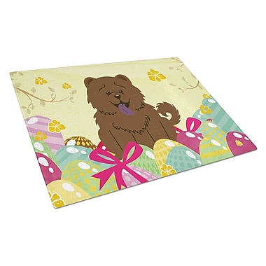 Caroline's Treasures Easter Eggs Glass Chow Chow Cutting Board; Chocolate