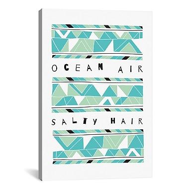 iCanvas 'Ocean Air Salty Hair' Graphic Art Print on Canvas; 18'' H x 12'' W x 1.5'' D