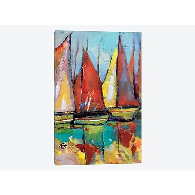 East Urban Home 'Old Tuna Boats' Painting Print on Canvas; 12'' H x 8'' W x 0.75'' D