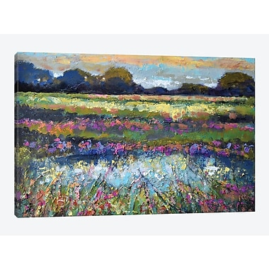 East Urban Home 'Pasture Sunrise' Painting Print on Canvas; 8'' H x 12'' W x 0.75'' D