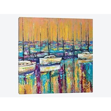 East Urban Home 'Harbor Sunrise' Painting Print on Canvas; 18'' H x 18'' W x 1.5'' D