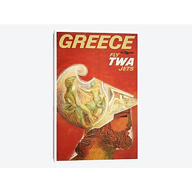 East Urban Home 'Greece - Fly TWA II' Vintage Advertisement on Canvas; 26'' H x 18'' W x 1.5'' D